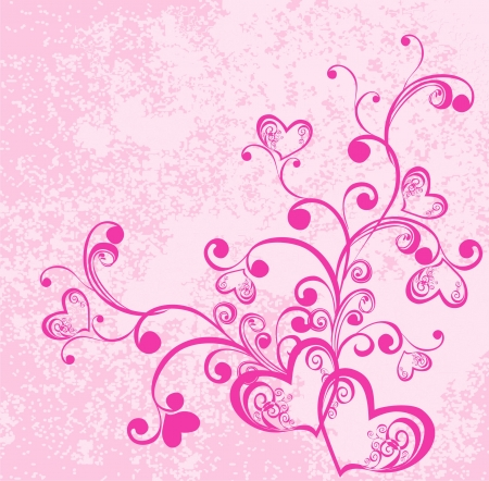 Valentine s day vector background with hearts  Decorative branch with hearts Vector