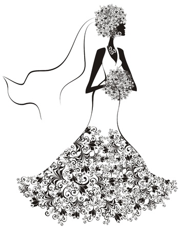 evening dresses: Bride, hair and dress decorated with flowers Illustration
