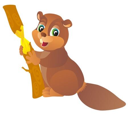 woodchuck: Beaver, vector illustration