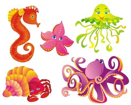 Impostare animali marini isolato su uno sfondo bianco