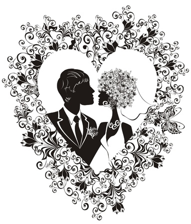 wedding couple silhouette: Groom and bride with beautiful floral heart