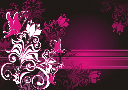 pink and black: Summer background with butterfly
