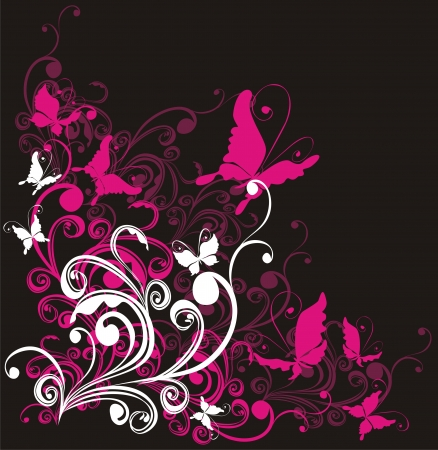flore: Abstract floral background with butterfly, vector