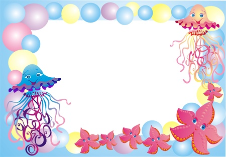 bubble sea anemone: Sea framework for a photo with sea animals, vector