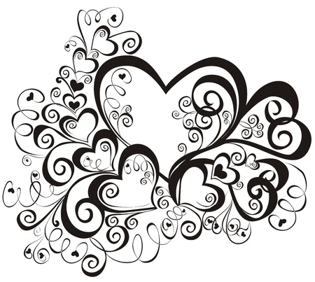 Heart with floral ornament, Element for design, vector image Vector