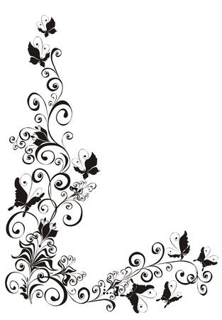 grunge wings: Sfondo astratto con farfalle e ornamento floreale