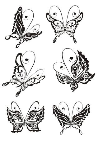 butterfly tattoo: Establecer mariposa Vectores