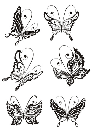 tattoo art: Set butterfly