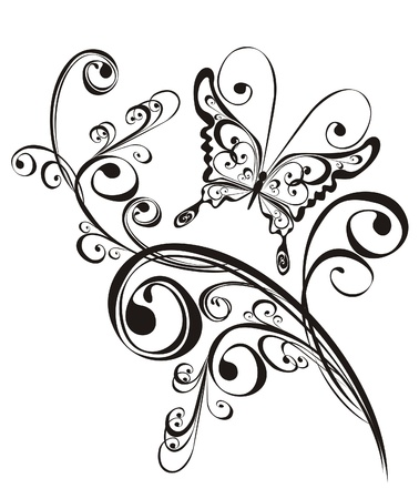 element for design: Butterfly and floral ornament, element for design, vector