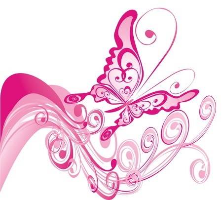 pink paint: Summer background with butterfly, vector