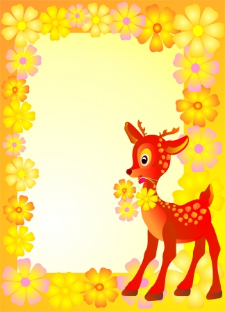 Baby frame or card whit reindeer Vector
