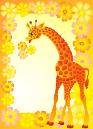 Baby frame or card whit giraffe Stock Vector - 16312736