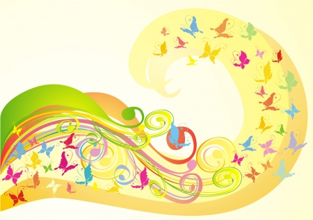 Abstract background with butterfly and florel ornament, vector Vector