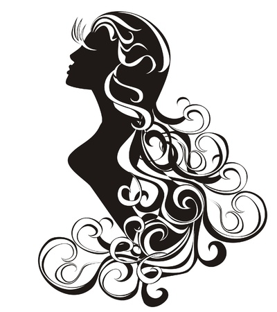 Virgo  tattoo beauty girl with curling hair  Vector