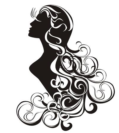Virgo Tattoo Schönheit Mädchen mit lockigem Haar
