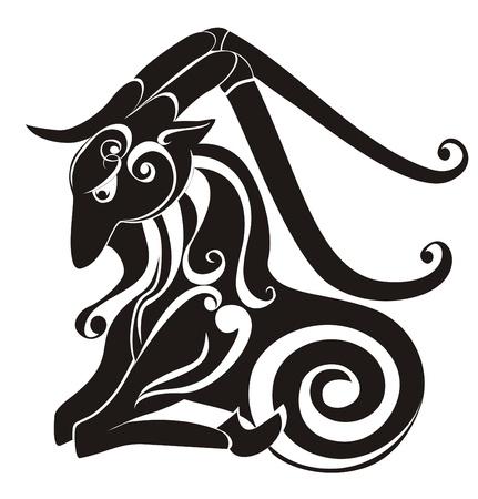 capricornio: Capricornio signo del zodiaco Astrología Vector