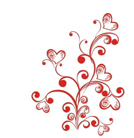 element for design: Decorative branch with hearts, element for design, vector  Illustration