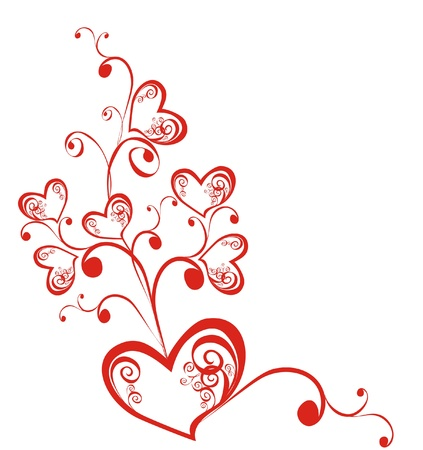 scroll shape: Decorative branch with hearts, element for design, vector  Illustration