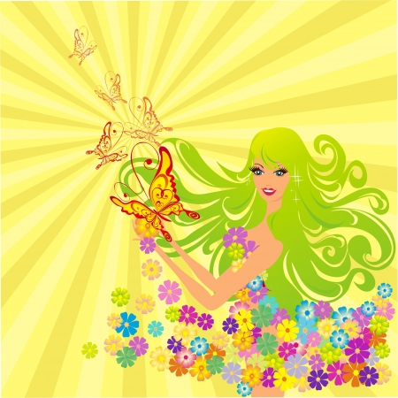 Flower fairy with butterflies, vector illustration Stock Vector - 16258551