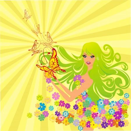 Flower fairy with butterflies, vector illustration Stock Vector - 16258551