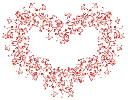 Lacy heart with floral ornament Stock Vector - 16316370