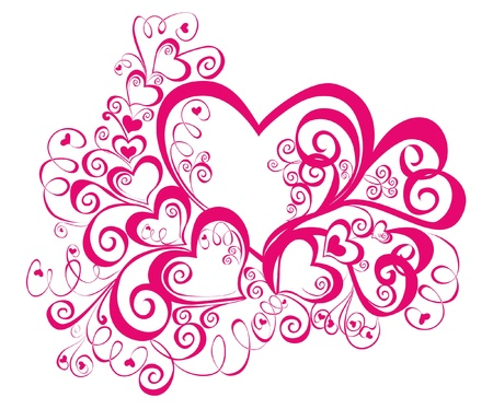 Decorative hearts, element for design Vector