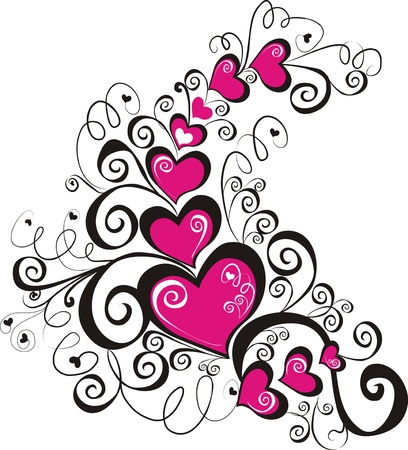 valentines day background: Decorative hearts, element for design