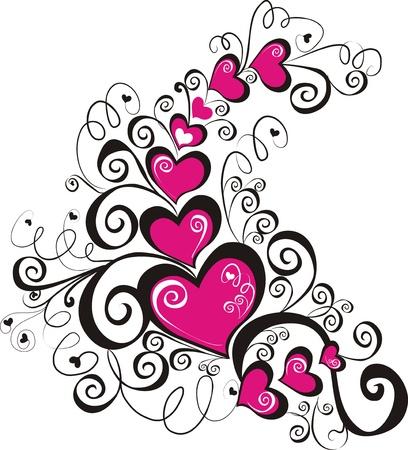 valentine's day: Decorative hearts, element for design