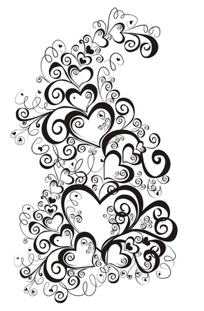 black and white frame: Decorative hearts, element for design