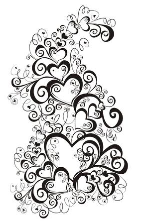 black white: Decorative hearts, element for design