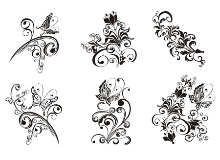 black and white image: Set decorative floral ornament with butterfly
