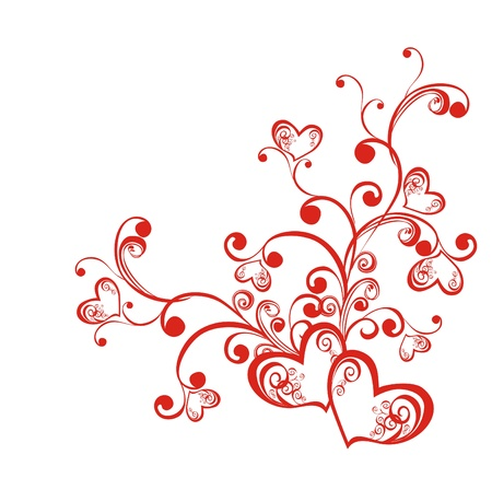 leaf curl: Decorative branch with hearts, element for design
