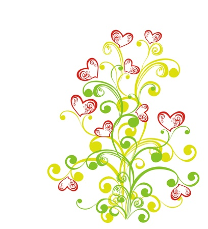 Decorative branch with hearts, element for design Stock Vector - 16389006