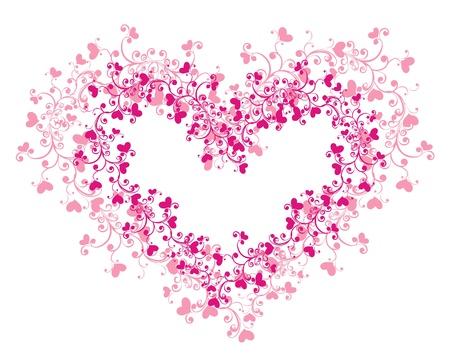hart bloem: Lacy hart met bloemen ornament