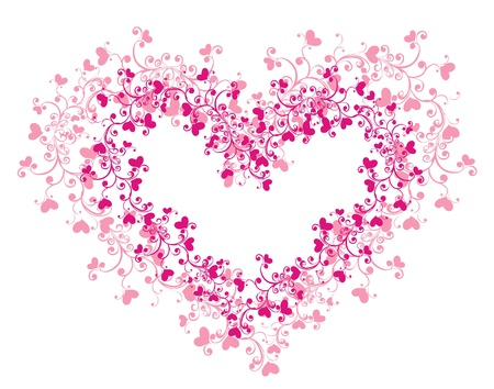 heart flower: Lacy heart with floral ornament Illustration
