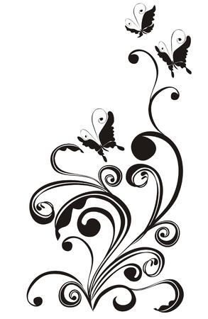 flower clip art: Floral ornament, Element for design, vector illustration