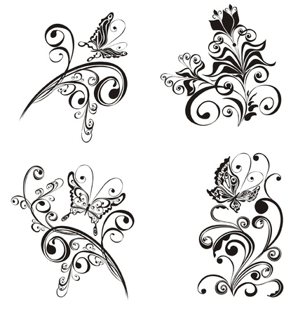 flores: Set decorative floral ornament with butterfly