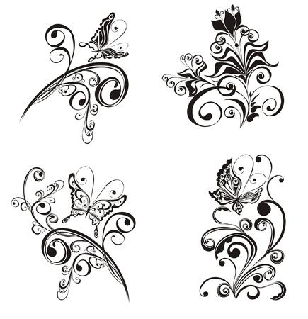 flores vintage: Set decorative floral ornament with butterfly
