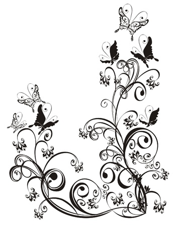 vector butterfly: Frame with butterfly and floral ornament, vector