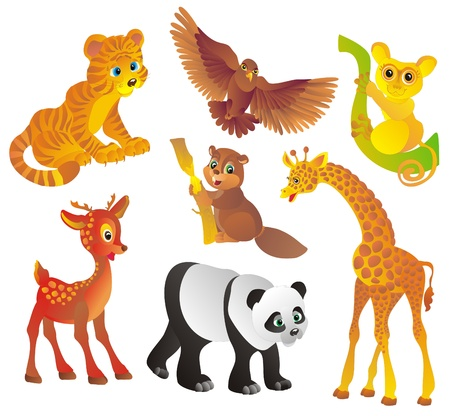 Many different wild animals, Vector illustration Vector