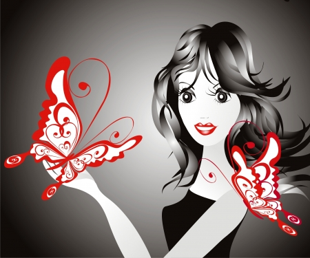 Girl with butterfly Stock Vector - 16389025