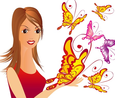 Girl with butterfly Stock Vector - 16389000