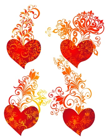 scroll shape: Beautiful heart with floral ornament, Element for design, image  Illustration