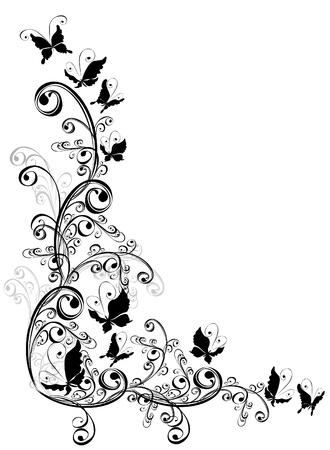 floral design elements: Decorative ornament floral ornament with butterfly, element for design  Illustration