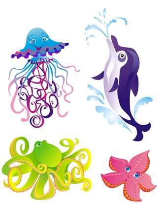 Cartoon sea animals  Dolphin, starfish, octopus, jellyfish isolated on a white Vector