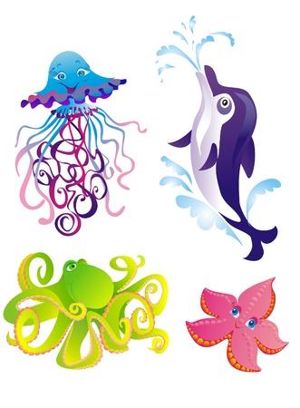Cartoon sea animals  Dolphin, starfish, octopus, jellyfish isolated on a white Stock Vector - 16389130