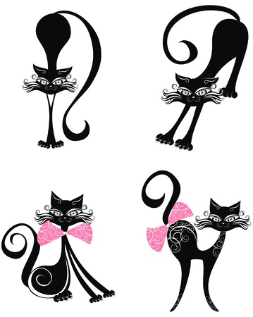whiskers: Set black cat Illustration