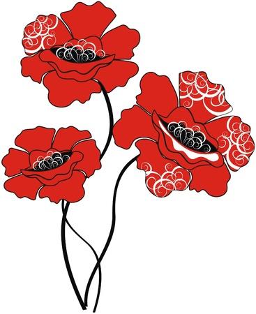 Red poppy flowers Stock Vector - 16389057