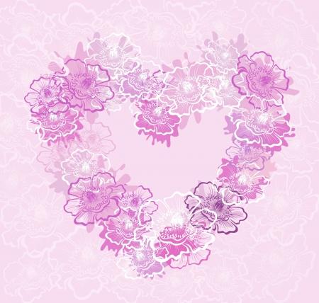 Heart with flower poppy,  image Stock Vector - 16389147
