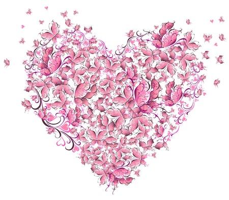 Bloemen Liefde Vorm Hart van vlinders Valentine Day card